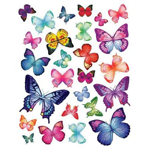26 Vibrant Butterflies Vinyl Peel & Stick Home Wall Sticker Decals