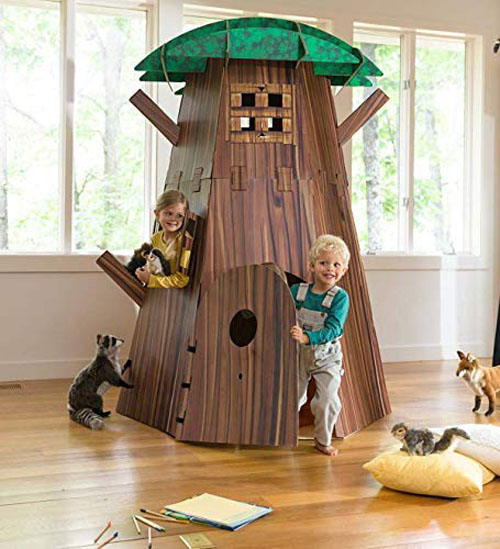 Awesome Big Tree Fort Building Kit for Kids Made of Cardboard