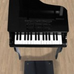 Black Childs Wood Toy Grand Piano : 30-key Piano with Bench for Toddlers