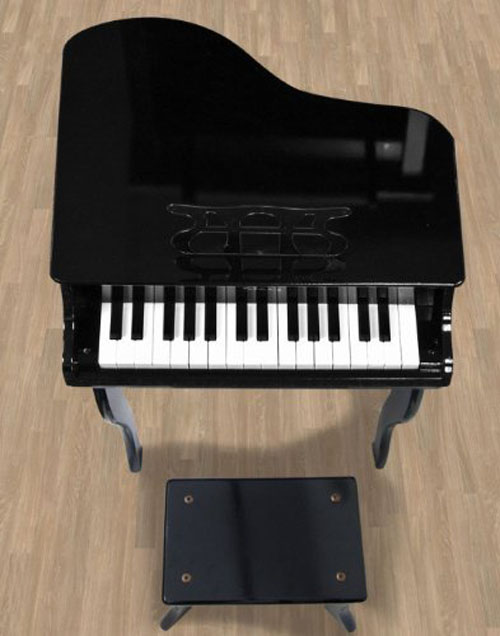 Black Childs Wood Toy Grand Piano