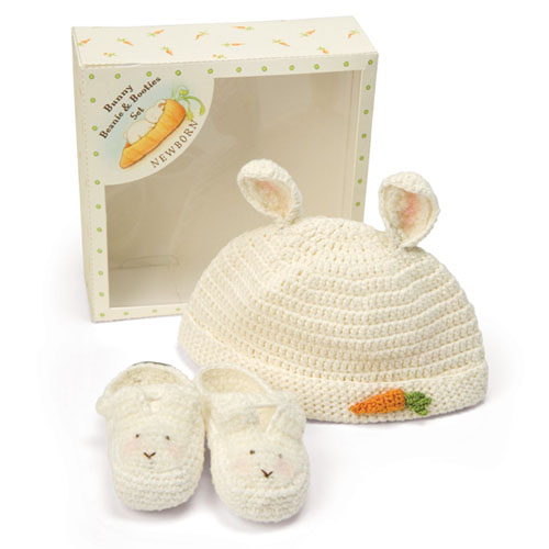 Bunnies by the Bay 0-3 Months Bunny Beanie and Bootie Gift Set