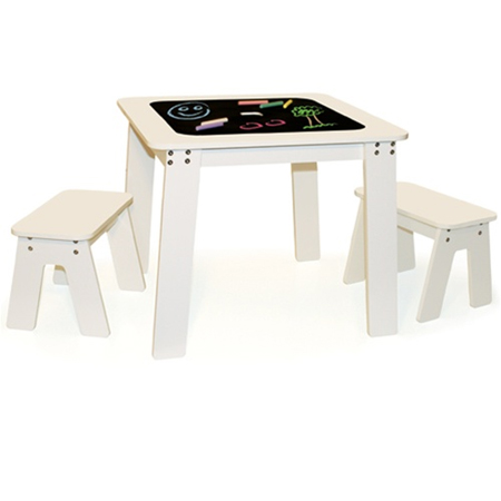 chalk table features a reversible tabletop