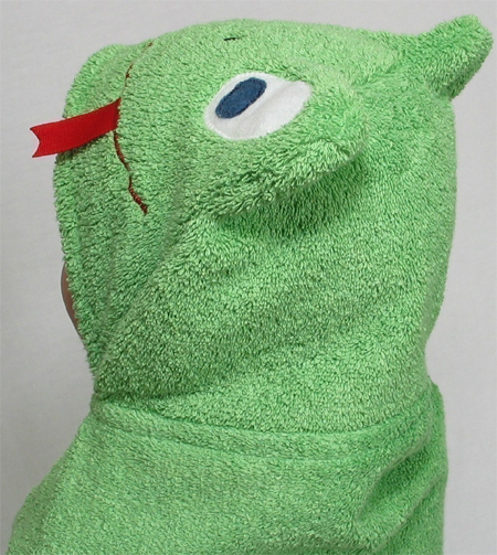 childs bath mate green frog hooded bath tubby towel