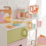 Complete Your Kid's Imaginary Kitchen with Wooden KidKraft Pastel Kitchen Accessories 4-Pack Play Set