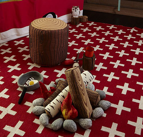 Crate and Kids Plush Campfire Set for Pretend Play Camp in The Room