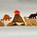 Handmade Dinosaur Animal Wooden Block Play Set for Young Dino Fans