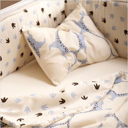 Dinosaur Print Organic Crib Bedding Gives Soothing Bed