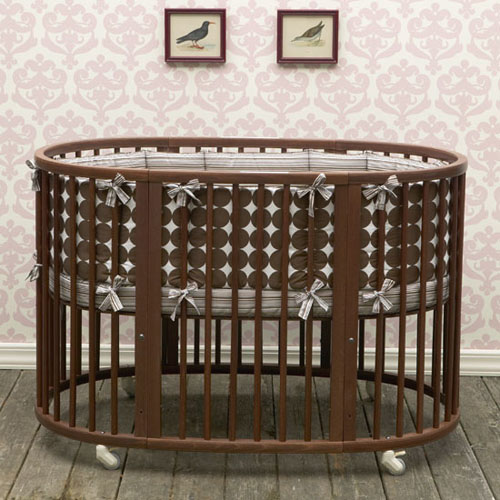 Dwellstudio Oval Crib Set in Chocolate Dots