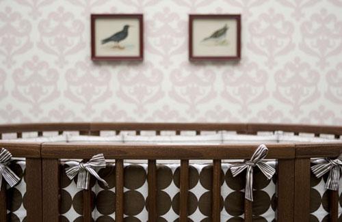 Dwellstudio Oval Crib Set in Chocolate Dots