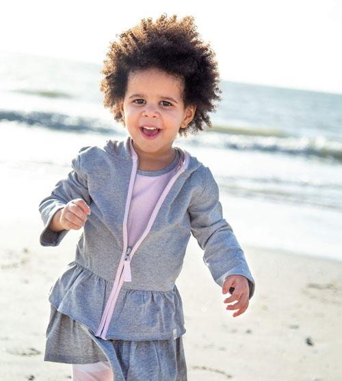 French Terry Organic Toddler Girls Zip Hoodie