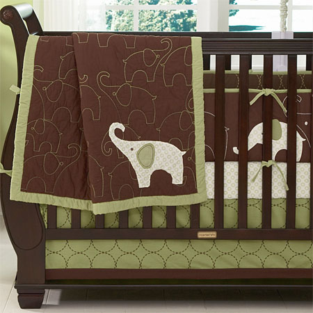green elephant crib bedding