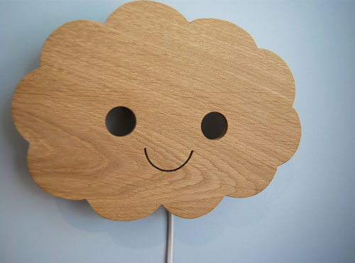 Cute Happy Cloud Lamp is Handcrafted for Children Bedroom by Studio Zoethout