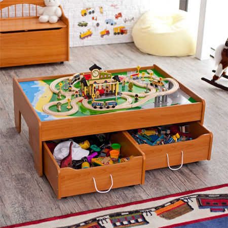 Honey train table with a couple of optional trundle for 100 piece cityscape train set and wooden activity table