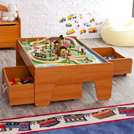 Honey Train Table With A Couple Of Optional Trundle Drawers Gives