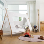Woood Kids Teepee Cabin Bed Is Made from Solid Pine with White Veneer