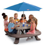Fold 'n Store Picnic Table with Market Umbrella Is A 4-Sided Table Designed for Child