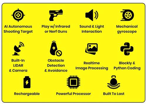 MaeGo Robot Kit - Autonomous Little Robot for Target Shooting Game and Coding