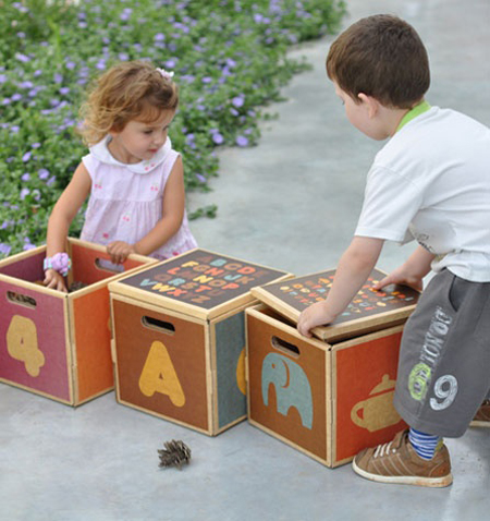 Multibox Natural Childs Seat, Storage Box, and Learning Tool