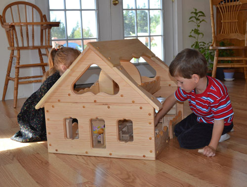 Natural Wooden Our Maine Dollhouse by Elves and Angels