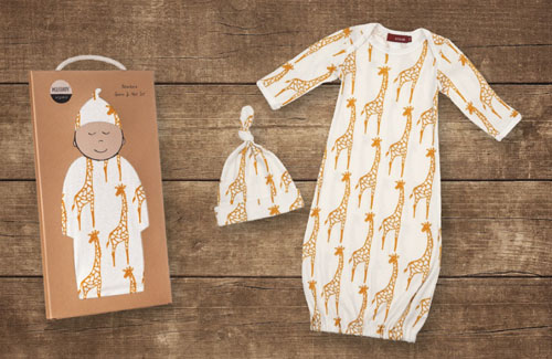 Milkbarn Organic Newborn Gown and Hat Set
