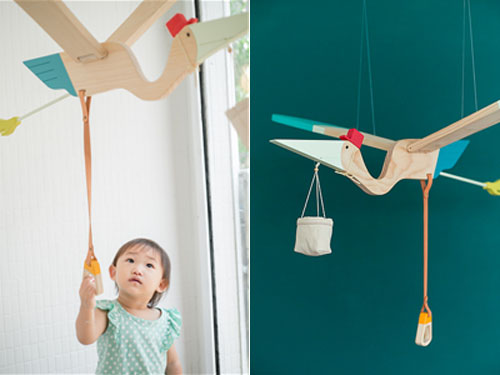 Eguchi Toys Bird Mobile - Pelican and Baby Bird for Little Hands