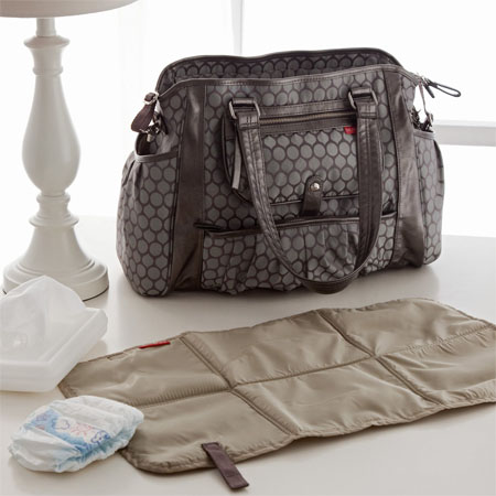 eead82b317fe Pewter Dot Decorated Studio Diaper Bag Makes Diaper Carrying Easier ...