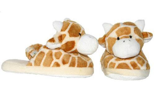 Plush Giraffe Print Baby Slippers - Cute Animal Slippers