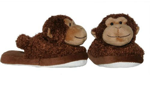 Plush Monkey Print Baby Slippers - Cute Animal Slippers