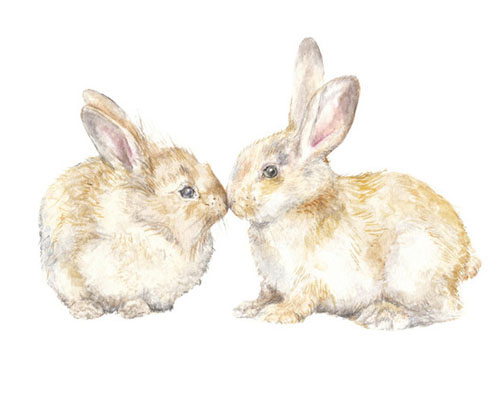 Snuggling Bunnies by Lauren Rogoff - Animal Arts for Baby Nursery