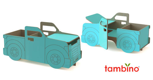 Tambino Pickup Truck Is A Combination Desk and Double Toy Chests
