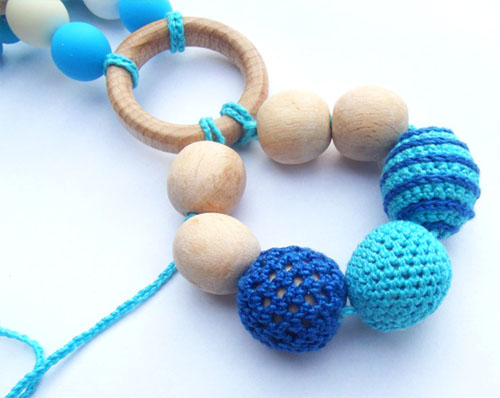 Teething Toy - Crocheted Ring Babywearing by Sister Fox Studio
