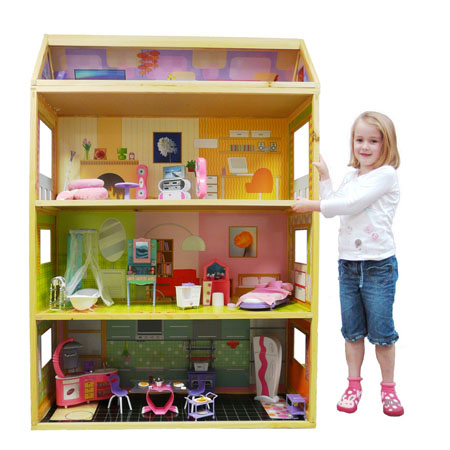 The Feenix Toys 4 Story Dollhouse Gives Various Playing Ideas with a Range of Optional Furniture