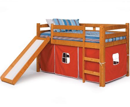 Twin loft bed with slide gives ultimate comfort and fun to your kids