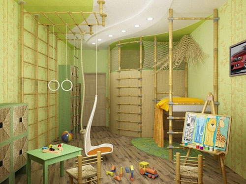 Jungle themed kids bedroom