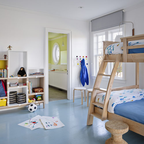Kid's beach bunk room and adjoining bathroom by Kellie Franklin