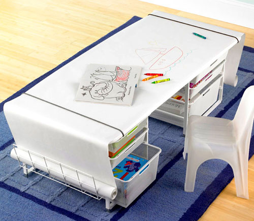 Modern Elfa Kids' Mesh Coloring Table with Rounded Corners