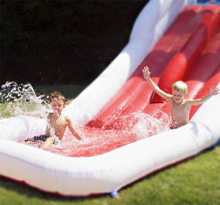 white shark inflatable slide