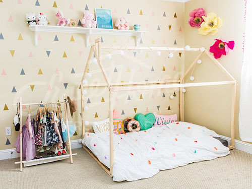 Wooden House Bed Frame Made of Pine or Birch Wood