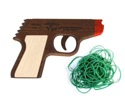 Wooden PPK Rubber Band Gun by ElasticPrecision
