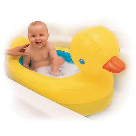 inflatable safety yellow duck tub features white hot dot modern baby toddle. Black Bedroom Furniture Sets. Home Design Ideas